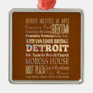 Atracciones y lugares famosos de Detroit, Michigan Adorno Navideño Cuadrado De Metal