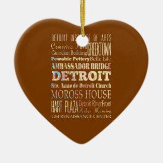 Atracciones y lugares famosos de Detroit, Michigan Adorno Navideño De Cerámica En Forma De Corazón