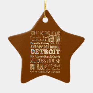 Atracciones y lugares famosos de Detroit, Michigan Adorno Navideño De Cerámica En Forma De Estrella