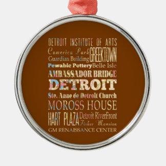Atracciones y lugares famosos de Detroit, Michigan Adorno Navideño Redondo De Metal