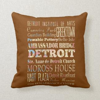 Atracciones y lugares famosos de Detroit, Michigan Cojin