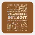 Atracciones y lugares famosos de Detroit, Michigan Pegatina Cuadrada