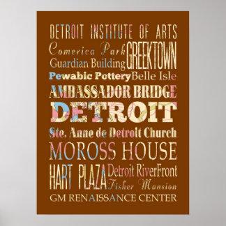Atracciones y lugares famosos de Detroit, Michigan Póster