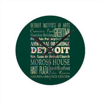 Atracciones y lugares famosos de Detroit, Michigan Reloj Redondo Mediano