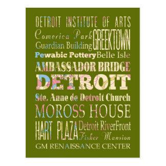 Atracciones y lugares famosos de Detroit, Michigan Tarjeta Postal