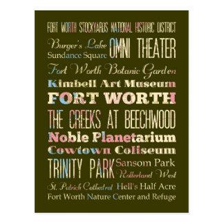 Atracciones y lugares famosos de Fort Worth, Tejas Tarjetas Postales