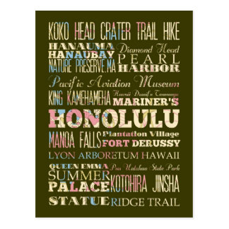 Atracciones y lugares famosos de Honolulu, Hawaii Tarjeta Postal