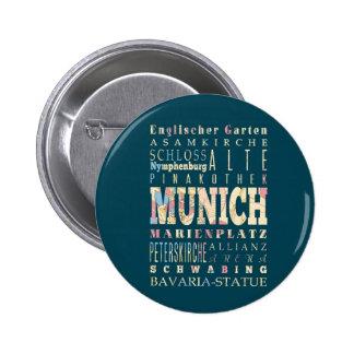 Atracciones y lugares famosos de Munich, Alemania Pin Redondo De 2 Pulgadas