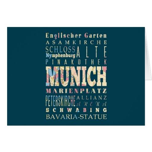 Atracciones y lugares famosos de Munich, Alemania Felicitación