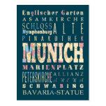 Atracciones y lugares famosos de Munich, Alemania Tarjetas Postales