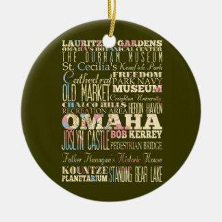 Atracciones y lugares famosos de Omaha, Nebaska. Adorno Navideño Redondo De Cerámica