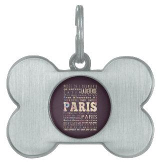 Atracciones y lugares famosos de París, Francia Placa Mascota