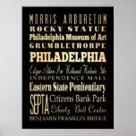 Atracciones y lugares famosos de Philadelphia, PA Poster