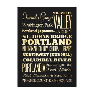 Atracciones y lugares famosos de Portland, Oregon Lienzo Envuelto Para Galerias