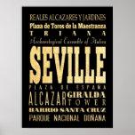 Atracciones y lugares famosos de Sevilla, España Poster