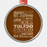 Atracciones y lugares famosos de Toledo, Ohio Adorno Redondo Plateado