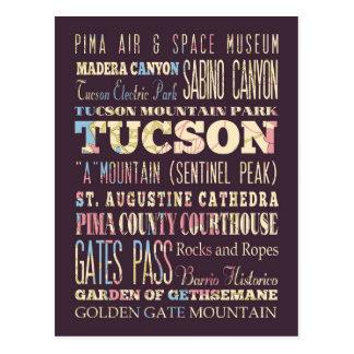 Atracciones y lugares famosos de Tucson, Arizona Tarjeta Postal