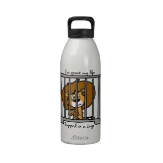 Atrapado en botella de agua de la jaula