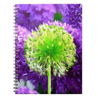 Atrevimiento a ser diversas flores de la púrpura d libros de apuntes con espiral