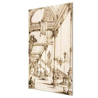 Atrium of a Palace, in Genes, from 'Art and Indust Stretched Canvas Prints