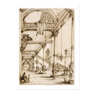 Atrium of a Palace, in Genes, from 'Art and Indust Postcard