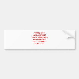 atrocities bumper sticker
