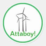 Atta Boy Wind Turbine Round Stickers