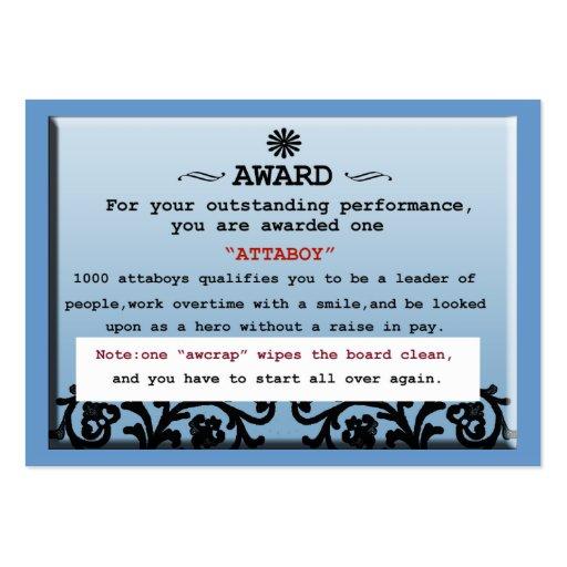 attaboy certificado plantilla de tarjeta de negocio