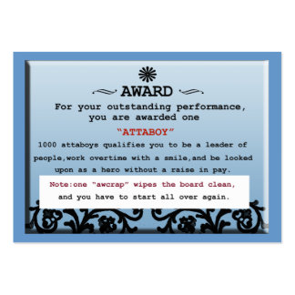 attaboy certificate large business cards (Pack of 100)