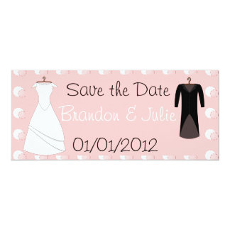 Attach and Groom clothes save the date 4x9.25 Paper Invitation Card