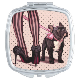 Attached to my French Bulldog Makeup Mirror