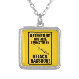 Attack Bassoon Square Pendant Necklace