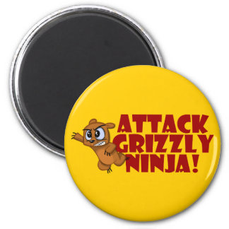 Attack Grizzly Ninja 2 Inch Round Magnet