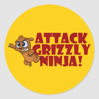 Attack Grizzly Ninja Classic Round Sticker