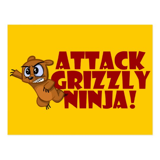 Attack Grizzly Ninja Postcard