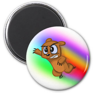 Attack Grizzly Ninja - Rainbow Blur! 2 Inch Round Magnet
