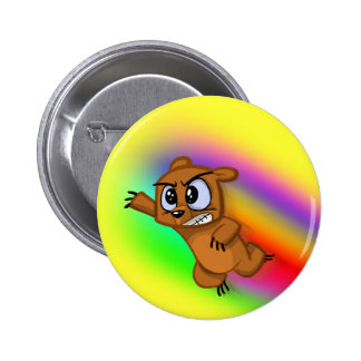 Attack Grizzly Ninja - Rainbow Blur! Pinback Button