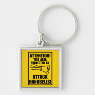 Attack Handbells Silver-Colored Square Keychain