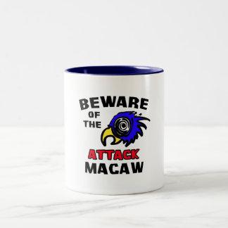 Attack Macaw Two-Tone Coffee Mug