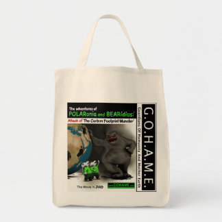 Attack of The Carbon Footprint Monster Grocery Tote Bag