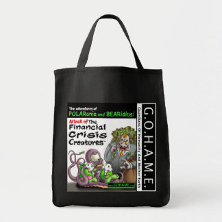 Attack of The Financial Crisis Creatures Grocery Tote Bag