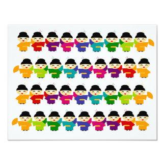 Attack of the Rainbow Geisha Dolls 4.25x5.5 Paper Invitation Card