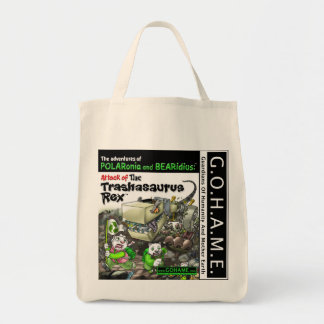 Attack of The Trashasaurus Rex Grocery Tote Bag