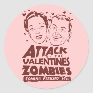 Attack of the Valentines Zombies Classic Round Sticker