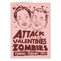 Attack of the Valentines Zombies Greeting Card