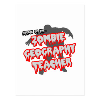 Attack of the Zombie Geography Teacher Postcard