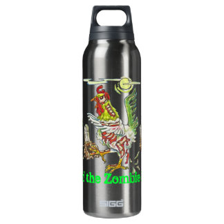 Attack of the Zombie Roosters Halloween Art Thermos Bottle