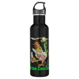 Attack of the Zombie Roosters Halloween Art Water Bottle