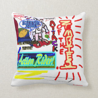 """Attack Of The Zombies!"" Action Rider -Pillow Throw Pillow"