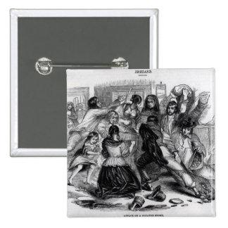 Attack on a Potato Store in Ireland, c.1845 2 Inch Square Button